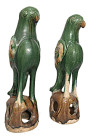 20th Century Chinese Lead-Glazed Terracotta Birds - a P