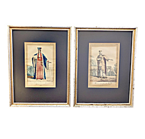 Early 19th C. French Hand Colored Framed Fashion Prints