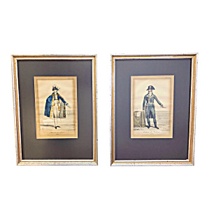 Early 19th Century French Hand Colored Framed Fashion P