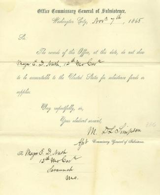 Autograph General Marcus DeLafayette Simpson (Image1)
