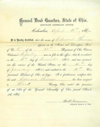 Autograph General Benjamin R. Cowen (Image1)
