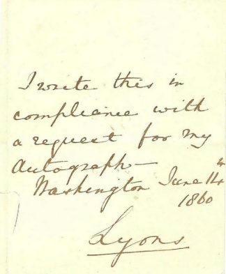 Autograph, Lord Richard B.p. Lyons