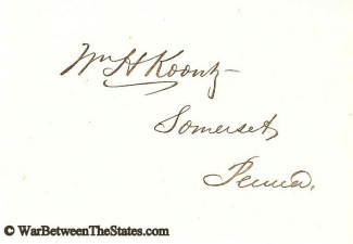 Autograph, William H. Koontz