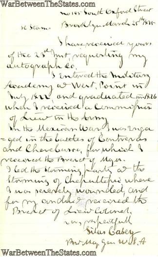 Autograph, General Silas Casey (Image1)
