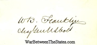 Autograph, General William B. Franklin