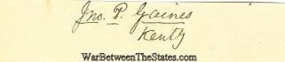 Autograph, John P. Gaines (Image1)