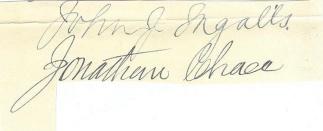 Autographs, U.S. Senators John J. Ingalls & Jonathan Chace (Image1)