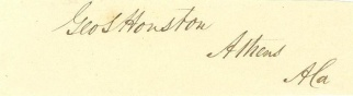 Autograph, George S. Houston