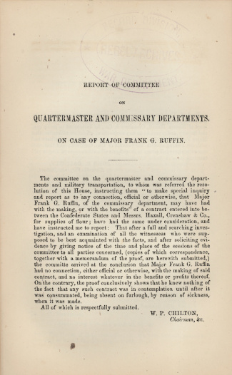 1863 Report Concerning The Case Of Major Frank G. Ruffin (Image1)