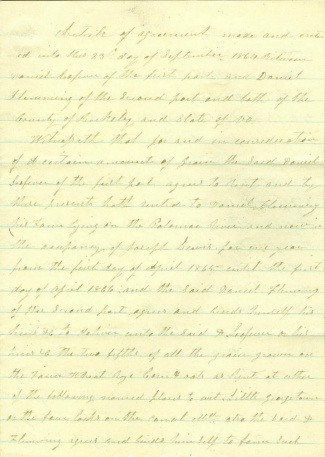 1864 Article of Agreement by Virginia Farmer (Image1)