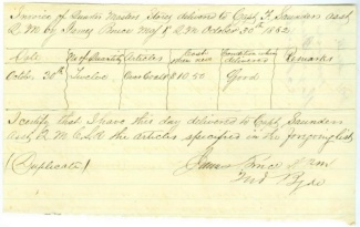 1862 Invoice Of Quarter Master Stores, Army Of Northern Virginia