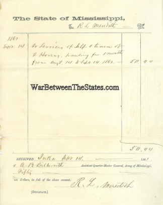 1861 Receipt For Services Provided to Q.M. Department, (Image1)