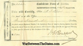 1864 Receipt For Purchase Of Confederate Bonds, Fayetteville, N.c.