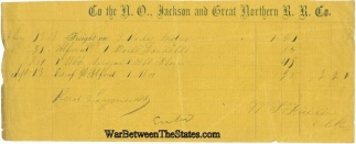 Receipt, The New Orleans, Jackson And Great Northern Railroad Co.