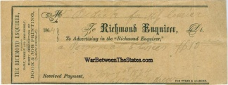 1864 Receipt For Advertising In The Richmond Enquirer
