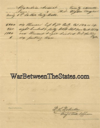 Alexandria Arsenal Supplies Ammuntion to 1st Louisiana  (Image1)