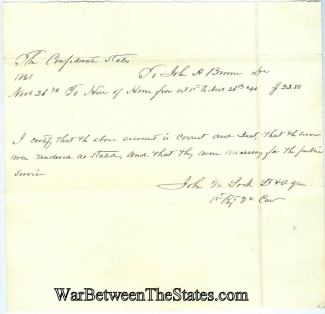 1st Virginia Cavalry Receipt For Hire Of A Horse In 1861