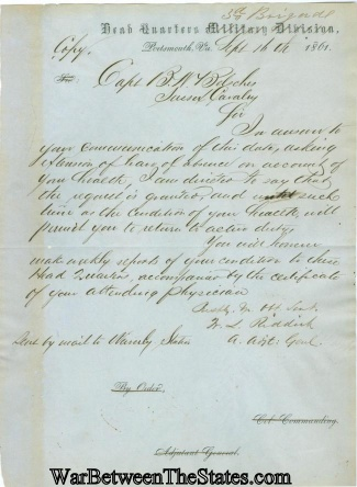 1861 Letter Written To Captain Benjamin W. Belsches