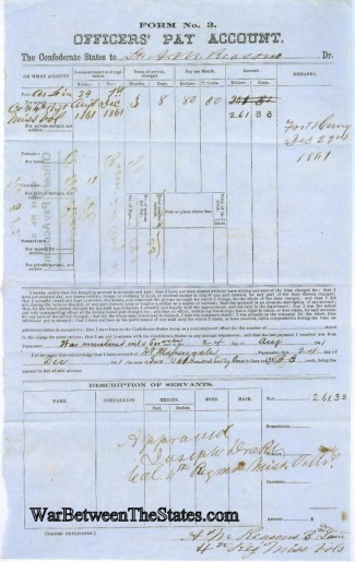 Confederate Officer's Pay Account From Fort Henry, Tennessee