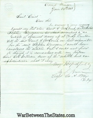 5th Virginia Infantry Manuscript Concerning A Substitute