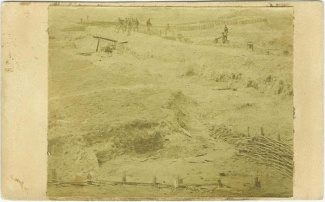 cdv, Civil War breastworks with several soldiers present (Image1)