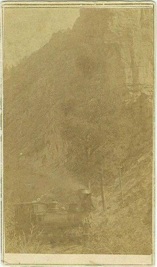 CDV Train Engine Passing Through Mountain Gap (Image1)