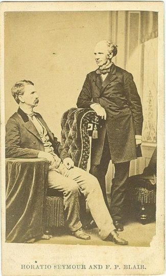 CDV, General Francis P. Blair & New York Governor Horatio Seymour (Image1)