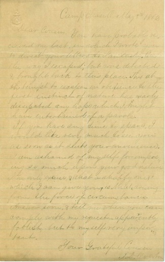Pair Of Confederate Prisoner Of War Letters