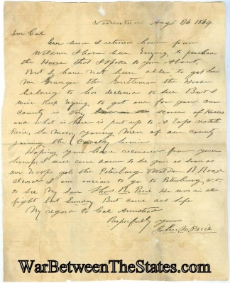 1864 Letter Written From North Carolina To A Rebel Colonel