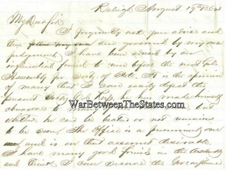 1864 Letter Concerning The North Carolina Secretary Of State