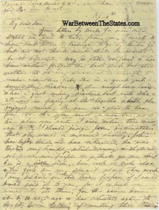 Letter to Confederate North Carolina Lieutenant Colonel  (Image1)