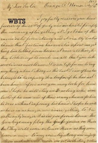 1863 Confederate Artillery Letter, Ashland, Virginia Light