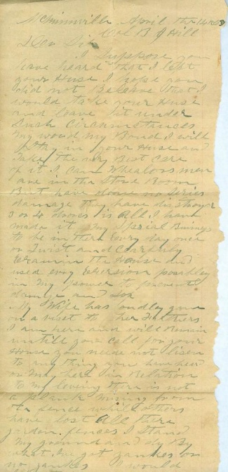 War Period Letter to Confederate Colonel Benjamin J. Hill (Image1)
