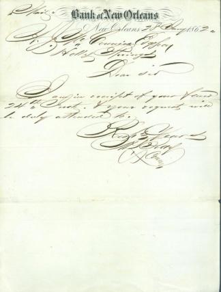 1862 Letter, Bank of New Orleans, La. Imprint (Image1)