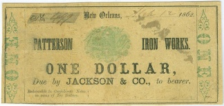 1862 Patterson Iron Works, Louisiana $1 Note