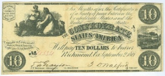1861 Confederate $10 Note