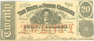 1863 North Carolina $20 Note (Image1)