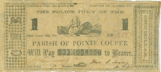 1862 Parish of Pointe Coupee, Louisiana $1 Note (Image1)