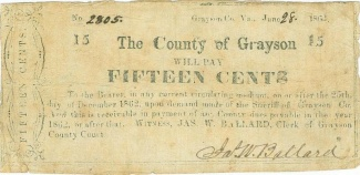 1862 County Of Grayson, Virginia 15 Cents Note