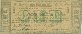 1862 Parish Of St. Martin, Louisiana $1 Note