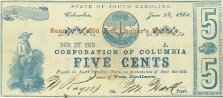 1861 Corporation Of Columbia, South Carolina 5 Cents Note