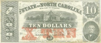 1863 State Of North Carolina $10 Note