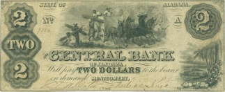 1861 Central Bank Of Alabama $2 Note