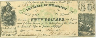 1862 State Of Mississippi $50 Note