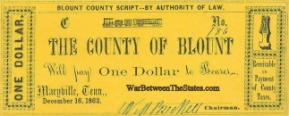 1862 Blount County, Tennessee $1 Note