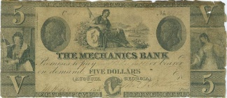 The Mechanics Bank Of Augusta, Georgia $5 Note
