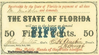 1863 State Of Florida 50 Cents Note