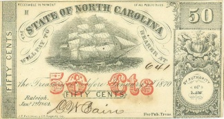 1864 State Of North Carolina 50 Cents Note