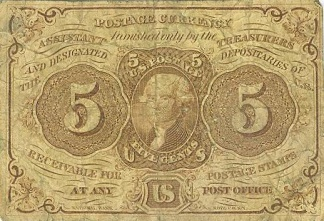1862 United States 5 Cents Postage Currency Note