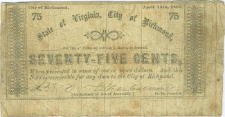 1862 State Of Virginia, City Of Richmond 75 Cents Note